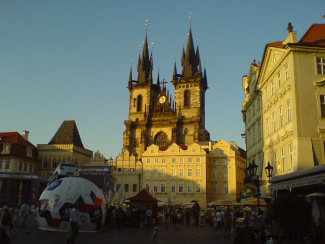 A picture of the Old Town Square at dusk - Prague, Czech Republic