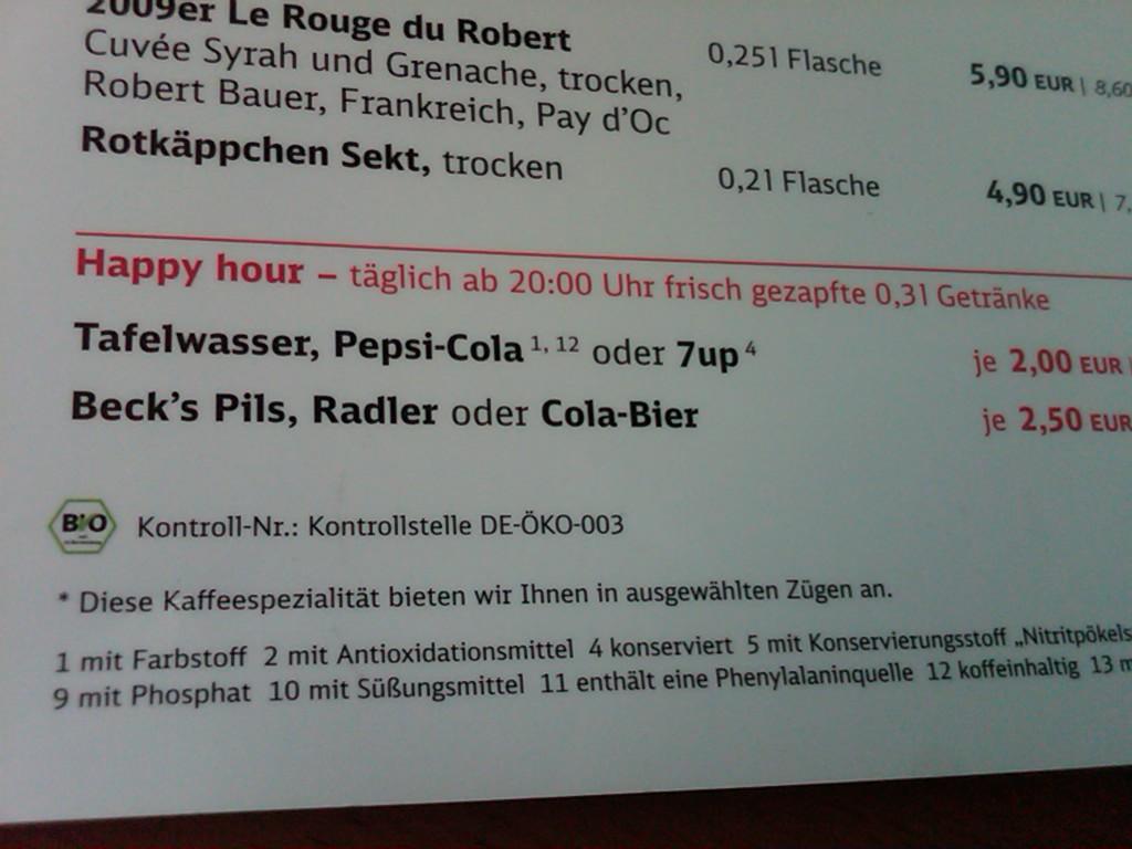 Deutsche Bahn menu