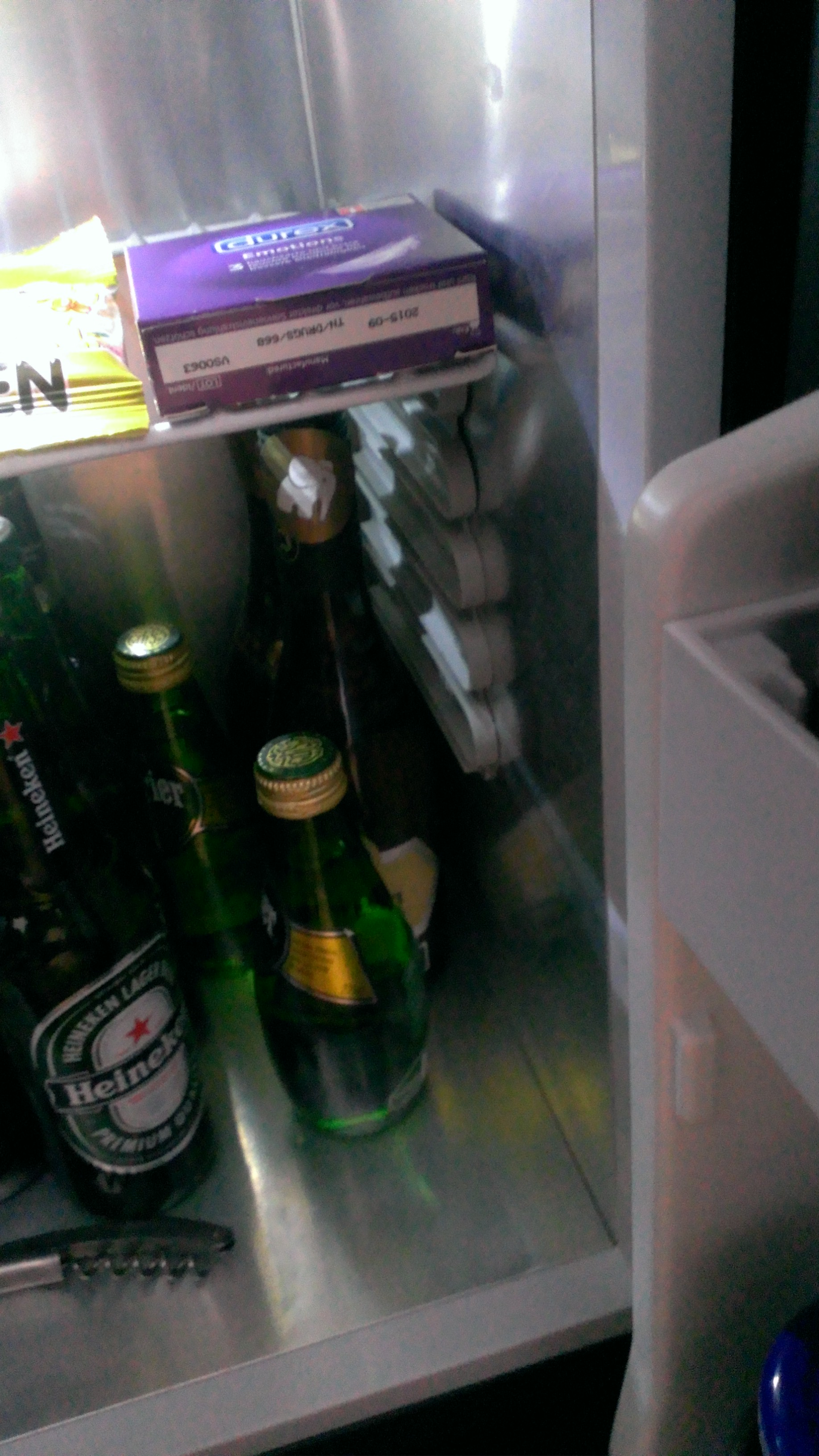 Condom packet in the fridge