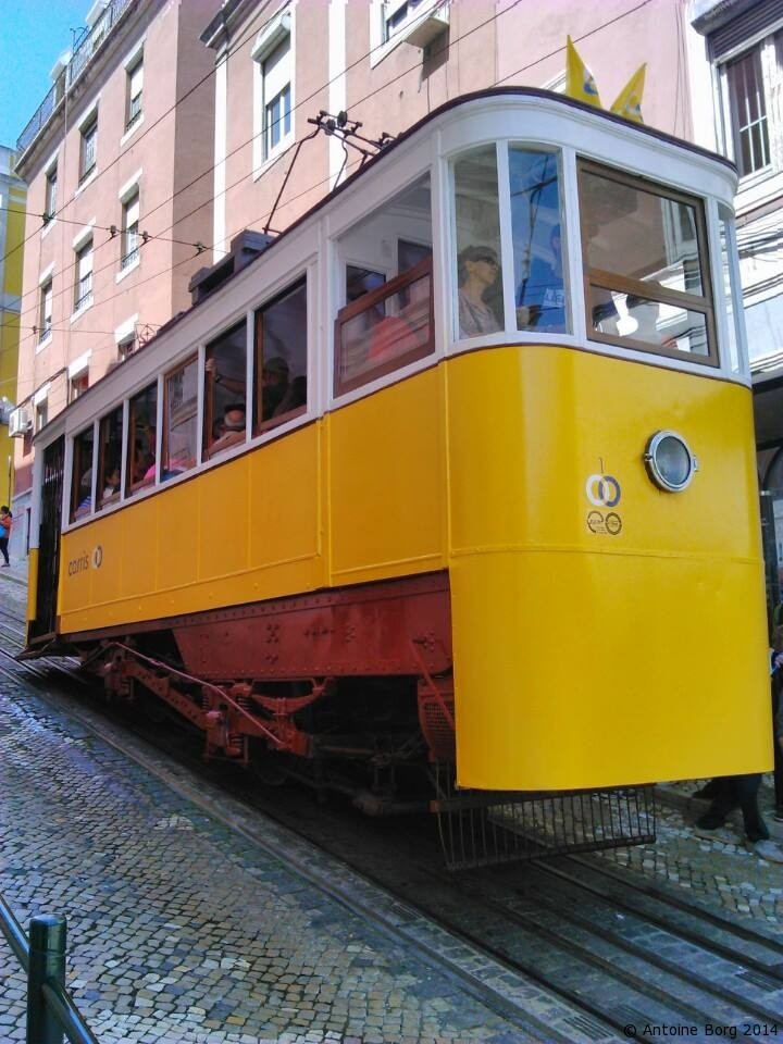 A photo of a small, quaint but very necessary Lisbon tram