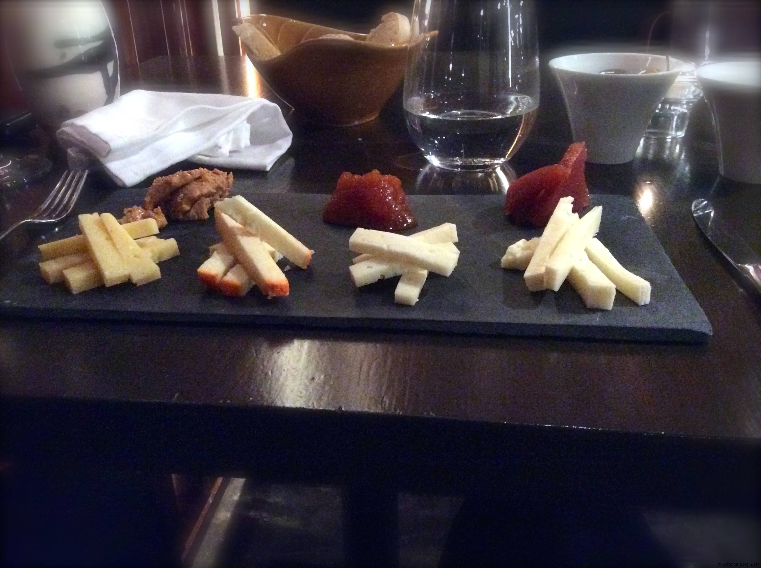 A photo of the cheese dish and selected chutneys