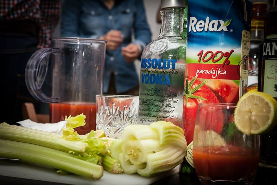 A picture of most of the ingredients needed to make the Bloody Mary cocktail