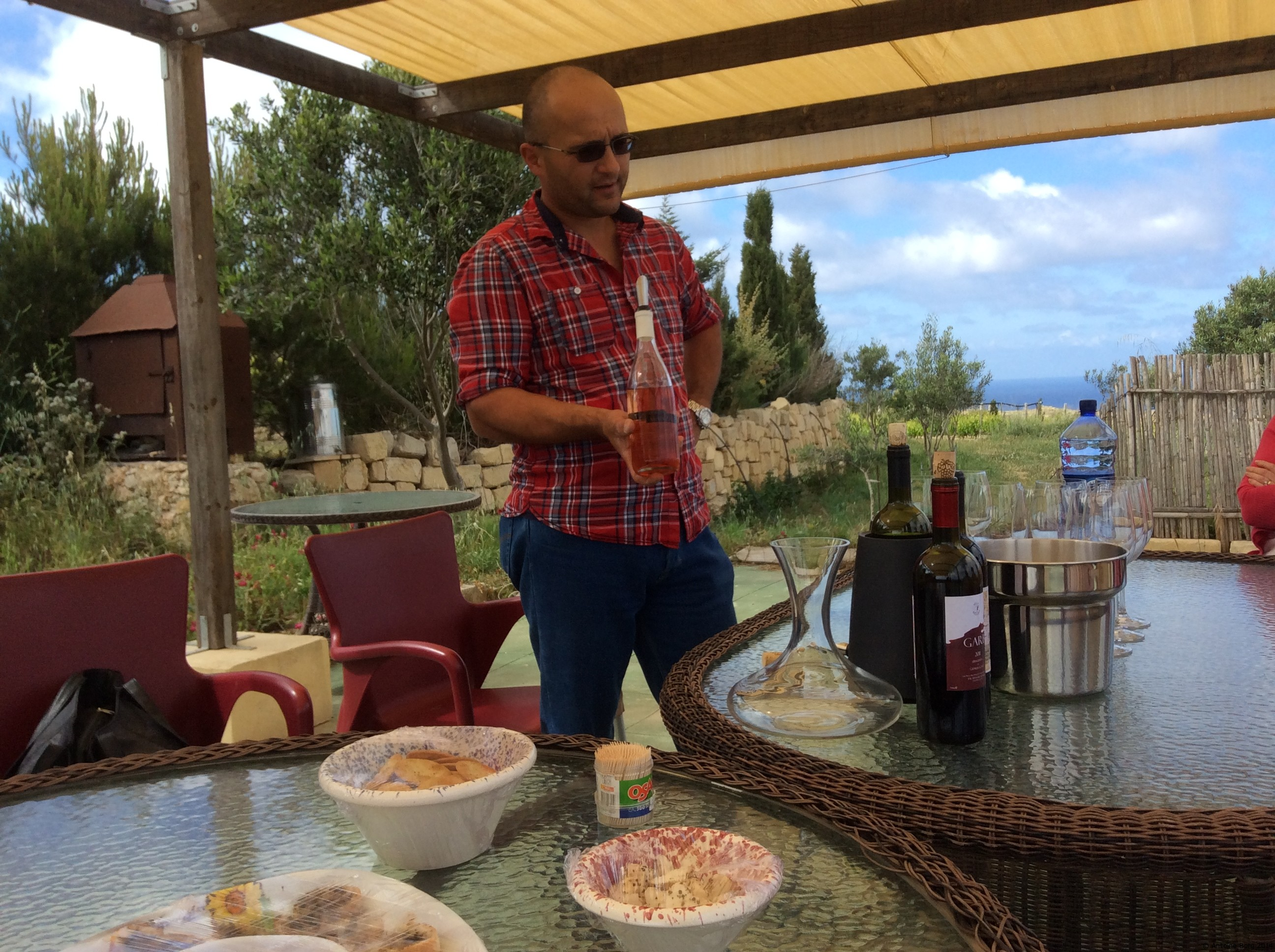 A photo of Mr Hili from Tal-Massar Winery presenting their wines - Gharb, Malta