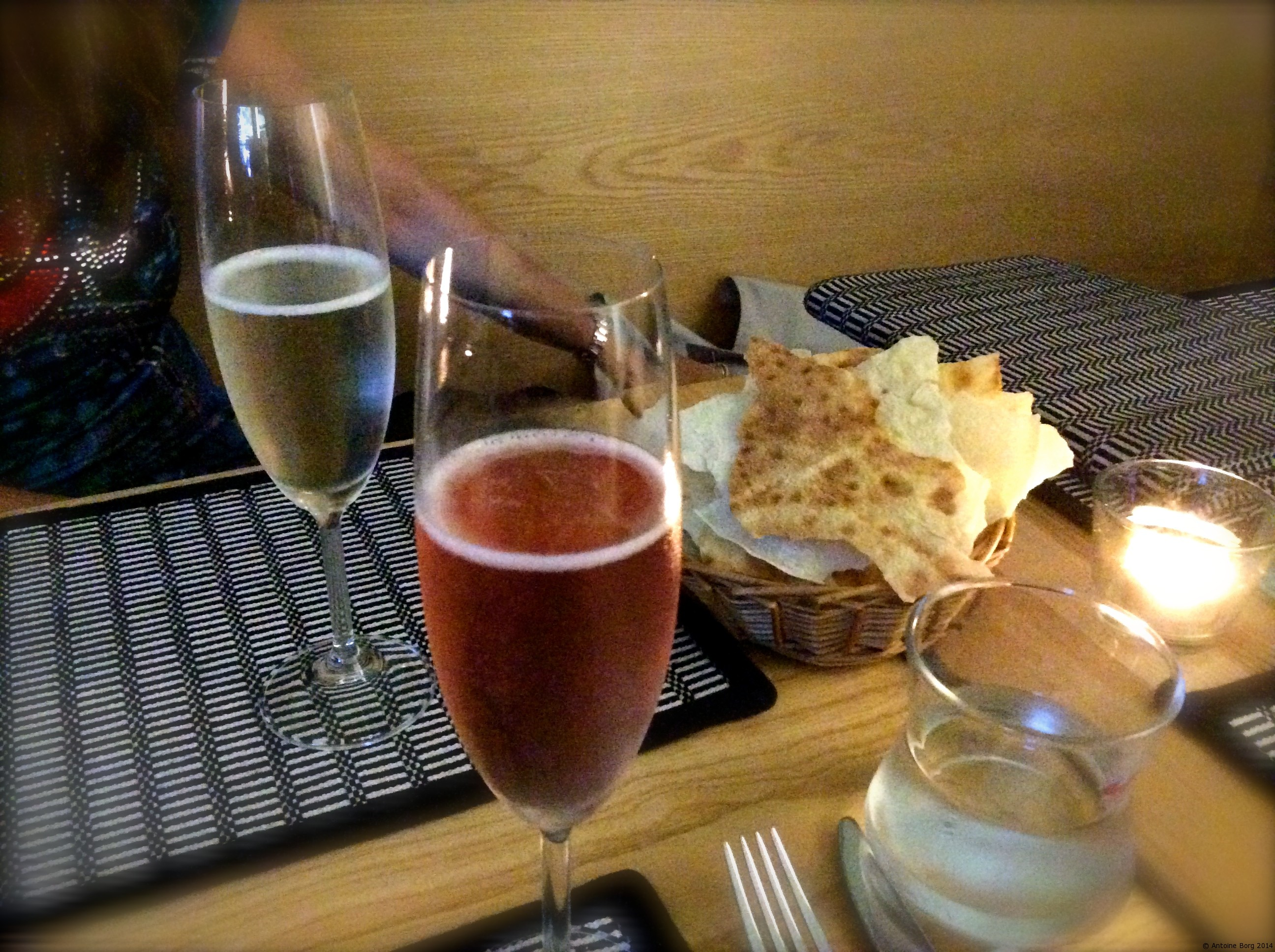 A photo of two glasses of Prosecco - Bisos Sardinian Restaurant, Prague, Czech Republic