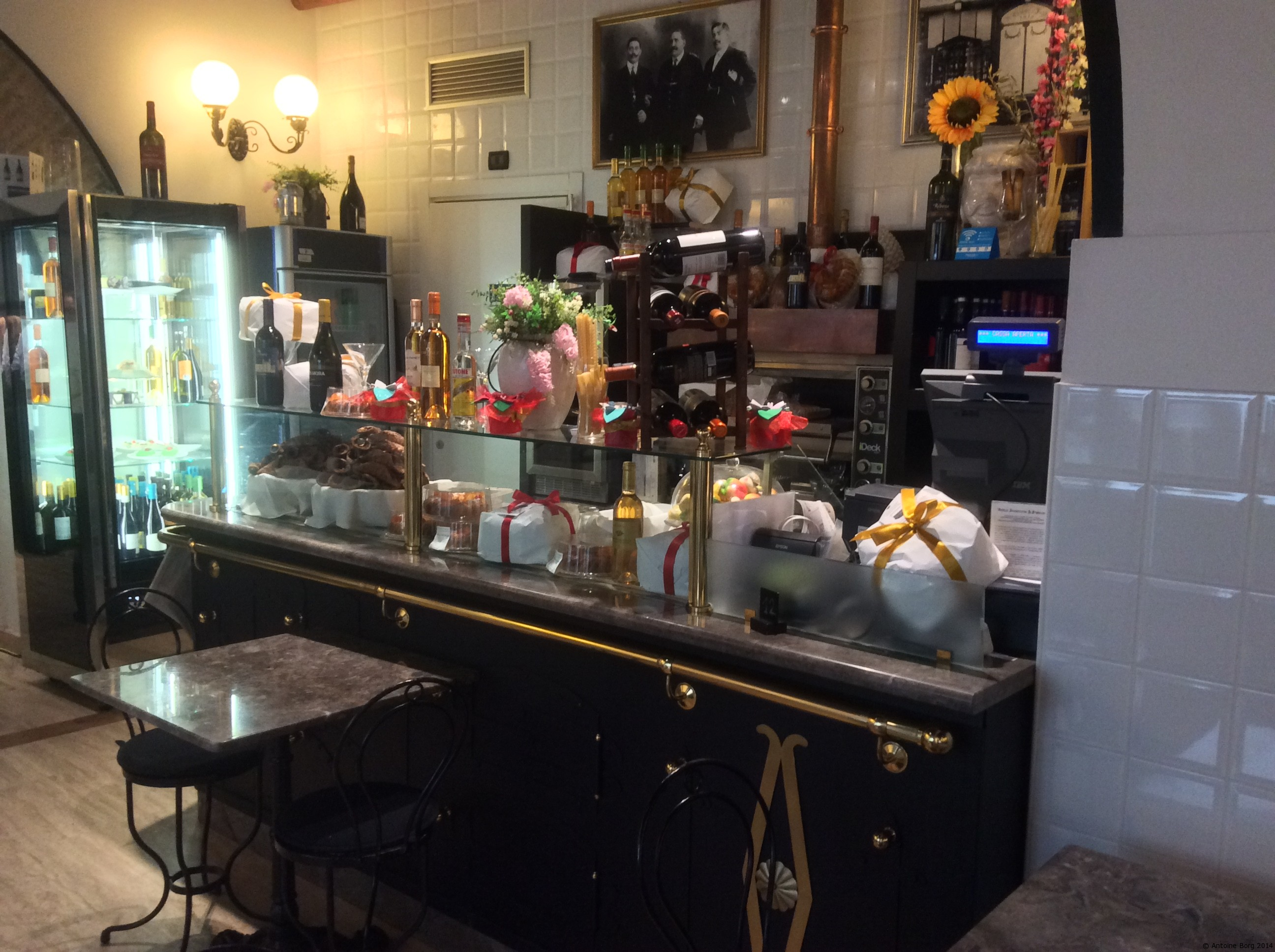 A photo of the biscuit display at Antica Focacceria San Francesco