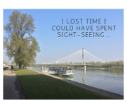 A photo of the river in Warsaw with a quote on it - Warsaw, Poland